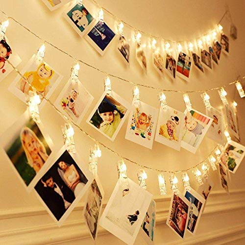 Yeeteching Photo Clip String Light, 17FT Fairy String Lights with 40 Clear Clips Battery Operated for Hanging Pictures,Birthday Party,Dorm Bedroom (USB Clip Lights)