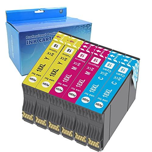 Teng 6color 18XL Cartuchos de Tinta Compatible con Epson 18 18XL para Epson Expression Home XP-205 XP-212 XP-215 XP-225 XP-302 XP-305 XP-312 XP-315 XP-322 XP-325 XP-402 XP-405