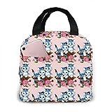 Yuanmeiju Bolsa de almuerzo, cestas de gatos, rosas, flores, cintas, bolsa de almuerzo aislada portátil, bolsa de almuerzo brillante, 20x21x13cm