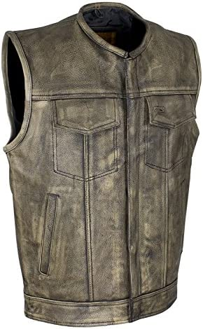 Men's Distressed Brown Naked Leather Motorcycle Vest 再入荷 予約販売 10%OFF with Club G