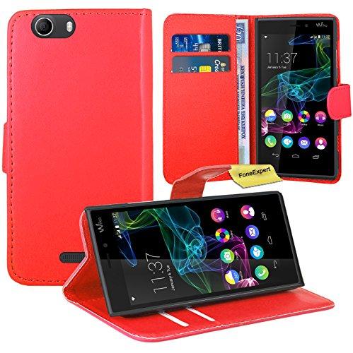 Wiko Ridge 4G Handy Tasche, FoneExpert® Wallet Hülle Flip Cover Hüllen Etui Ledertasche Lederhülle Premium Schutzhülle für Wiko Ridge 4G (Rot)