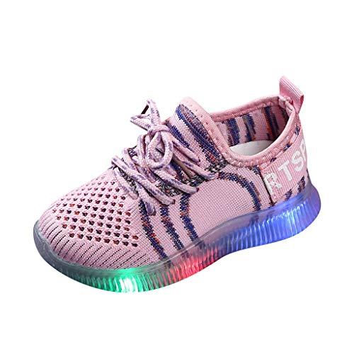 HDUFGJ Kinder LED Schuhe Leuchtend Sportschuhe LED Sneaker Fliegendes Weben Turnschuhe Tanzschuhe Plus Samt wasserfeste Schneestiefel Wasserdicht Boots kurz Hoher Absatz 23 EU(Rosa)