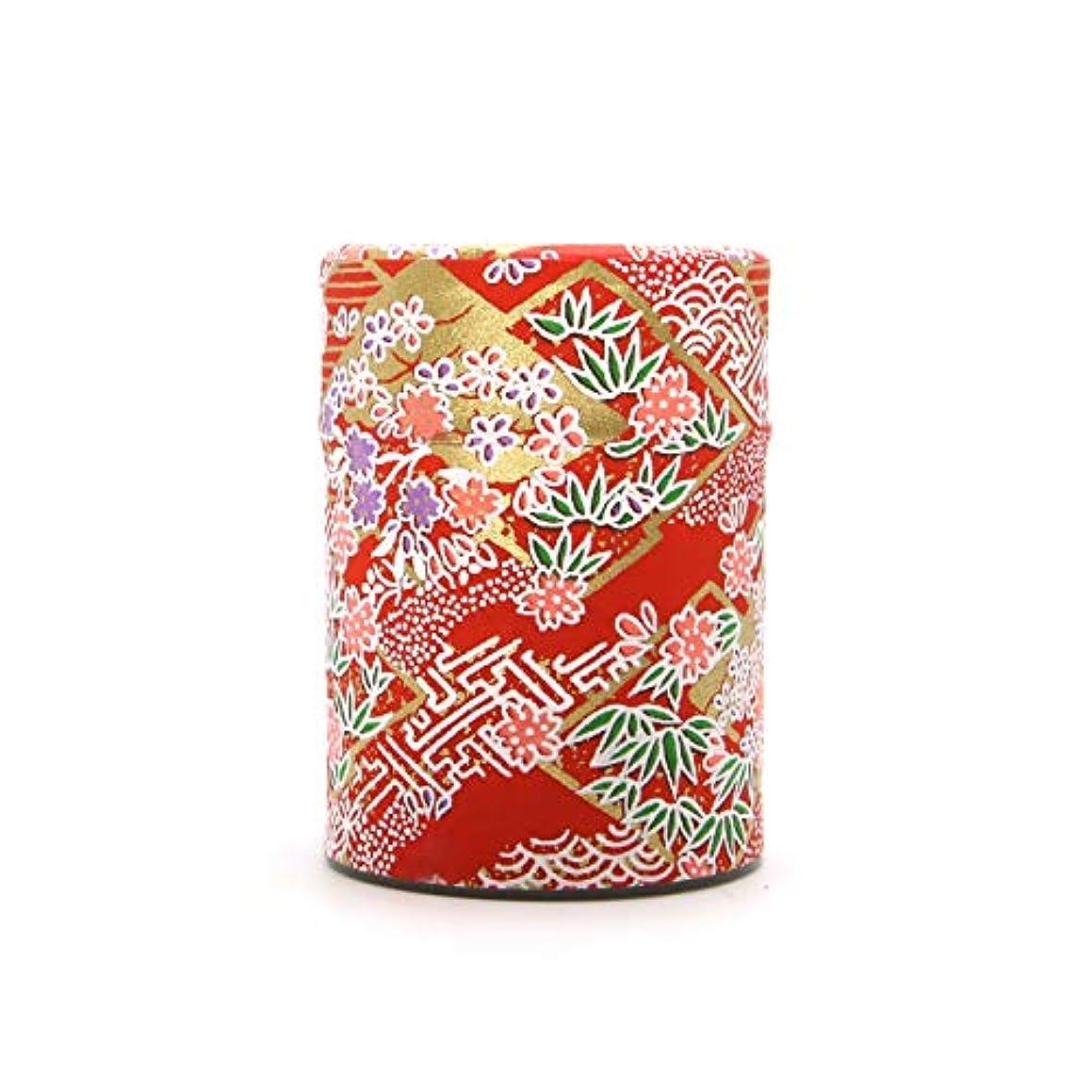 Handmade Washi Paper Tea Tin (Red Flowers)