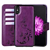WaterFox Case for iPhone Xs Max, Wallet Leather Case with 2 in 1 Detachable Cover, Women's 4 Card Slots & Wrist Strap Vintage Embossed Pattern Case - Purple