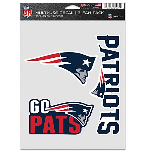 WinCraft NFL New England Patriots Aufkleber Multi Use Fan 3er Pack Team Farben One Size