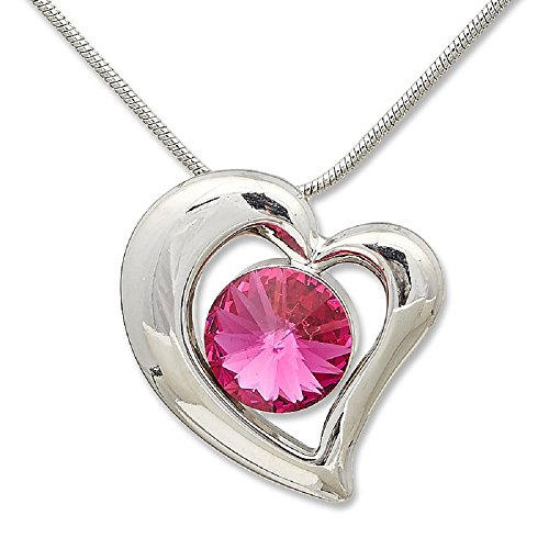Cadena Collar con Swarovski Elements Corazón Amor fucsia rosa