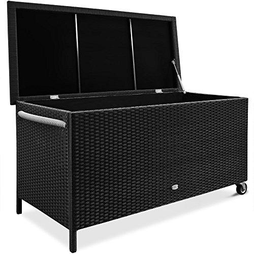 Coffre/ malle de rangement à roulettes noir 117,5 x 55 x 64,5 cm avec cadre en aluminium et revêtement amovible