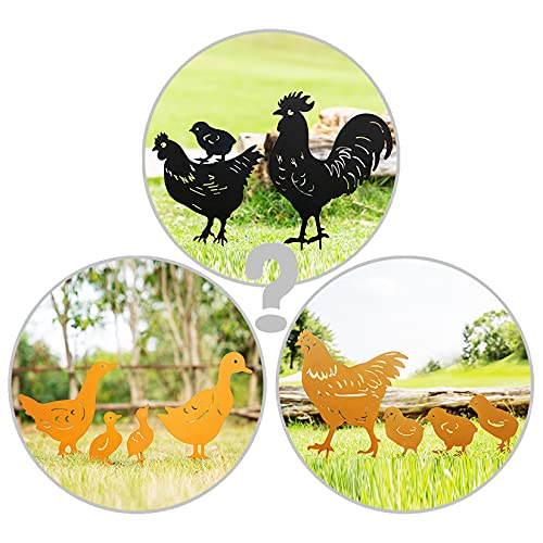 TT & MM Decorative Garden Stakes Metal Animal Yard Decor - Chickens Family Silhouette Garden Decoration - Rooster/Chickens/Ducks Lawn Ornaments Yard Sign