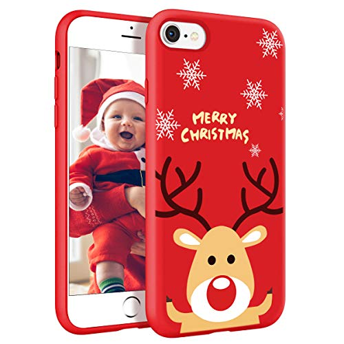ZhuoFan Cover per iPhone 7/8, Custodia Silicone Rosso con Disegni Ultra Slim TPU Morbido Antiurto Christmas Cartoon Pattern Bumper Case Protettiva per Apple iPhone 7/8 / SE 2020, Cervo
