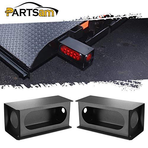 """Partsam 2Pcs Heavy Duty Black Steel Utility Truck Trailer 6"""" Tail Light Guard Oval Box 2"""" Side Light for Sealed 6"""" Oval Tail Lights and 2"""" Side Lights"""