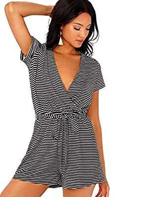 SheIn Women's Casual Short Sleeve V Neck Striped Tie Waist Short Jumpsuit Romper X-Small Black