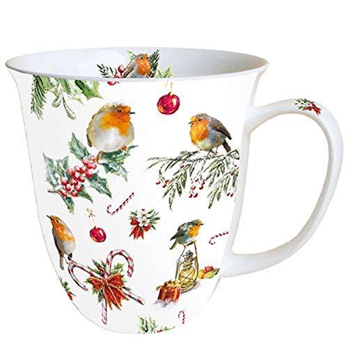Ambiente Kerstmis, kerstversieringen en vogels, 0,4 liter, Fine Bone China porseleinen beker Bone China, mok, kopje, voor thee of koffie, ca. 0,4 l kerstversieringen - ideaal als geschenk