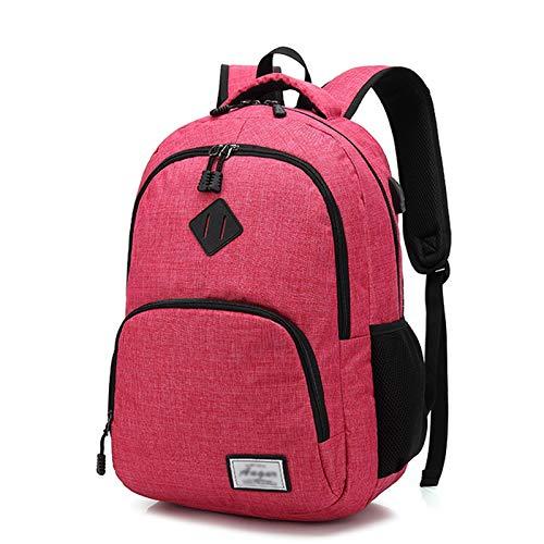 BaiJaC Bolso de Hombro Masculino Campus Bolso Escuela Oxford Paño Bolsa Ocio Ordenador Bolso High School Estudiantes Retro Hombres y Mujeres Mochila (Color : Pink)