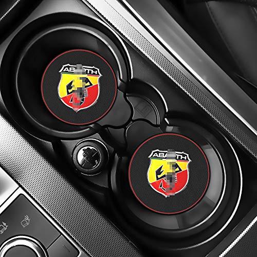 LIANGYUXIA 2 Stück Auto Innenmatten Wasser Untersetzer Leder Pad Auto Anti-Dirty Pad Auto Zubehör für FIAT Abarth Punto 500 Ducato Palio Bravo