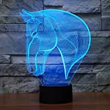 Lámpara de Ilusión Óptica 3D Cabeza de caballo Luces de la noche del LED, FZAI Lámpara de mesa de mesa táctil Decoración hogareña 7 colores Efectos luminosos únicos para Regalo de la Navidad de los niños