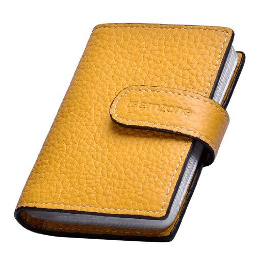 teemzone Kreditkartenhalter Leder, RFID Schutz Ausweisetui Herren/Damen Kartenetui,Scheckbuchhülle (Gelb)