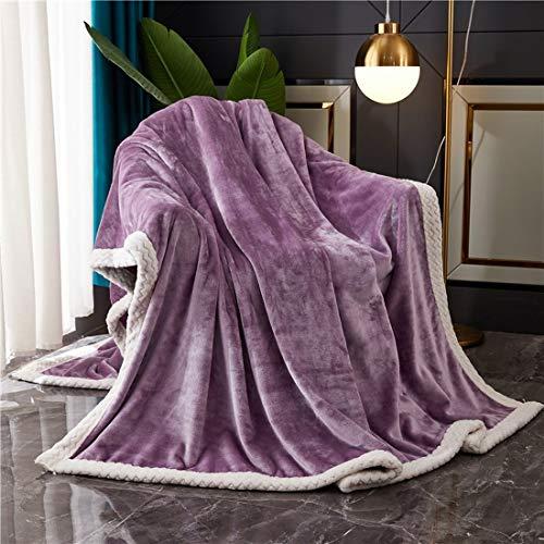 QIUBD Decke Hochwertige Wohndecken Kuscheldecken, Extra Dicke Warm Sofadecke/Couchdecke/TV Decken/Tagesdecke, XL Super Flausch Fleecedecke Als Sofaüberwurf (Purple,150 x 200 cm)