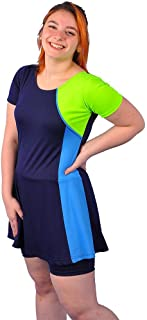 Polyester Short Sleeves Swimwear Dress With Shorts For Women - code 365