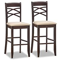 Leick Wood Double Cross Back Bar Stool with Beige Microfiber Seat