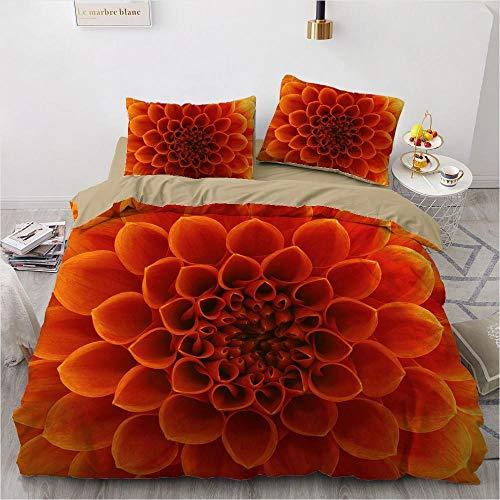 geek cook Duvet cover,3D Duvet Covers Sets Comforter Bed Set Quilt Cover Bedding Sets King Queen Full Size Flowers Design Bedclothes-Flower063-Camel_UK Single
