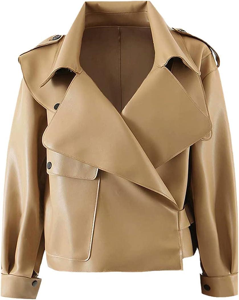 Autumn Women Faux Leather Jacket, PU Motorcycle Biker Red Coat, Turndown Collar Streetwear Black Punk Outerwear