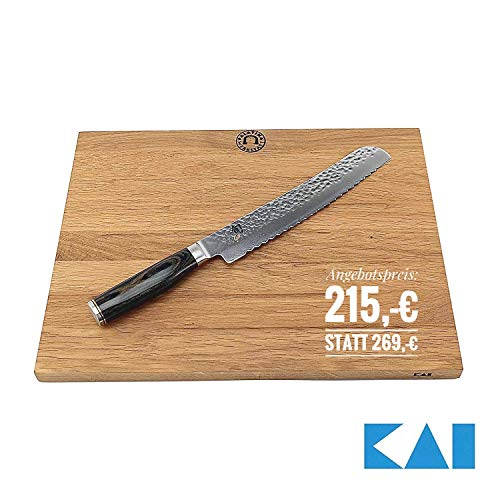 Palatina Werkstatt Kai Shun Premier Tim Mälzer Angebotsset | TDM-1705, ultrascharfe japanische Brotmesser aus Damaststahl | + großes massives Schneidebrett von Kai 40x30 cm | VK: 279,- €