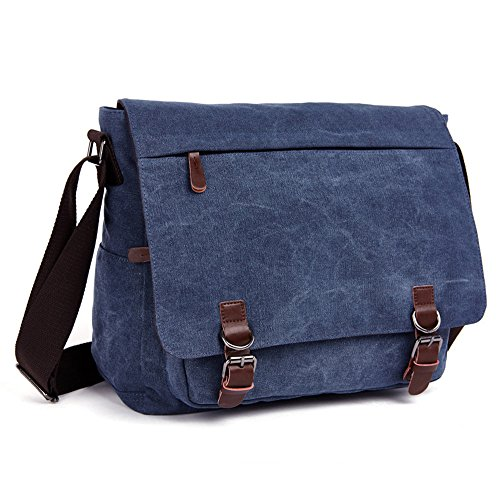 LOSMILE Laptop Messenger Bags, Men's Shoulder Bag, 16 Inches Vintage Canvas Bag for School and Work, Multiple Pocket. (Blue)