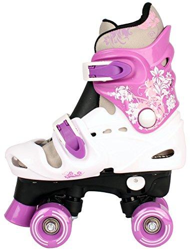 Selltex Kinder Rollschuhe Rollerskates verstellbar 28 29 30 31 32 33 34 35 36 NEU Disco Roller (Lila, 29-32 (S))