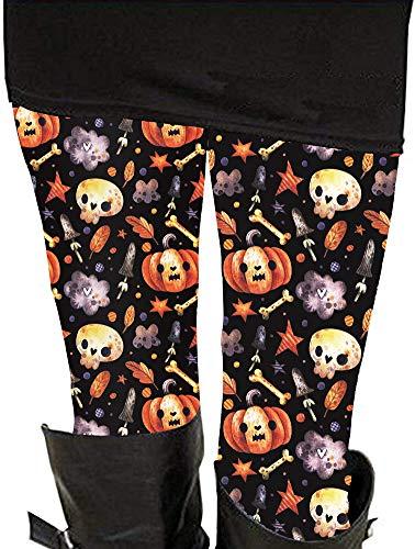 Pumpkin Print Leggings Halloween Horror Nights Bat High Waist Casual Pants for Women M