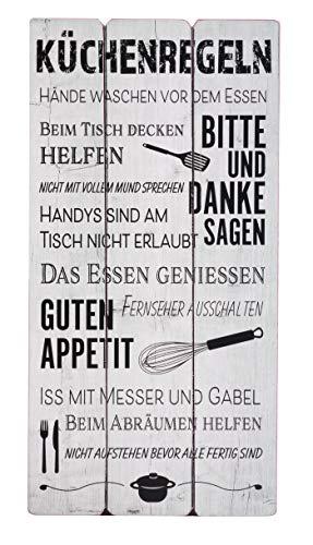 BigDean Wandschild Plankenschild Küchenregeln 60x30cm Weiß Esszimmerregeln Vintage Motiv Schild Hausordnung Küche Esszimmer Holz