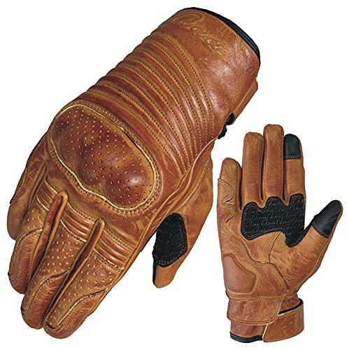 aaaSports Rindsleder Motorradhandschuhe Harter Knöchel Sommer Handschuhe Herren Handschuhe Touch Screen (XL)
