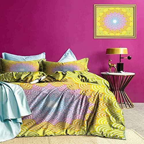Juego de Colcha de Colcha Guirnalda Redonda Juego de Ropa de Cama de Arte Colorido Transpirable y cómodo