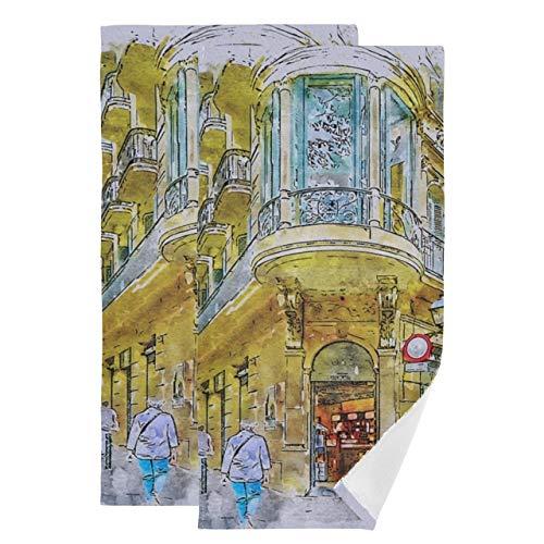Juego de 2 Toallas de baño Juego de Toallas de baño de la Calle Barcelona Barrio Gótico España Arquitectura Juego de Toallas de baño de Secado rápido Suaves y absorbentes Adecuado