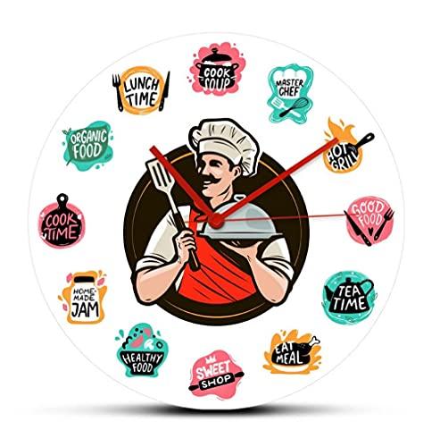 Reloj de Pared de acrílico Cocinar Alimentos Hornear Alimentos Reloj de Pared Cocina Chef sosteniendo una Bandeja Restaurante Reloj Decorativo para Colgar en la Pared Mecanismo sin tictac (30Cm)