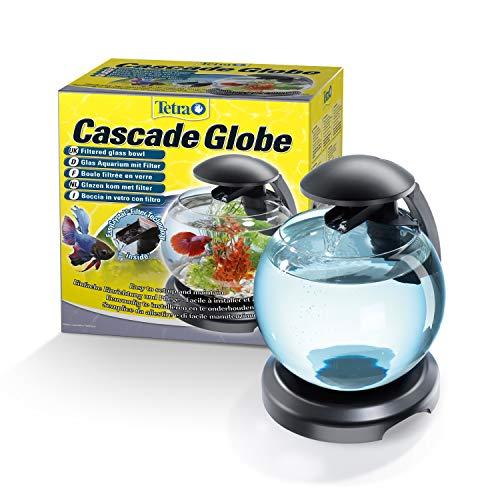 Tetra Cascade Globe Noire, Aquarium pour Poisson Combattant ou Poisson Rouge 6,8L Noir