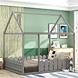 Full Size House Bed for Kids ,House Floor Bed with Fence-Shaped Guardrails , Wood Kids House Full Bed Frame for Toddlers, Girls, Boys ,Grey