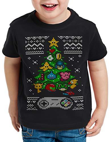 style3 16-bit Suéter de Navidad Camiseta para Niños T-Shirt Ugly Sweater x-mas SNES, Talla:128