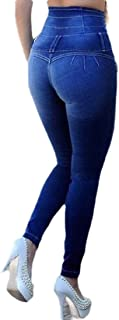 Women Stretch Slim High Waisted Skinny Jeans Denim Pants Calf Length Pants Trousers