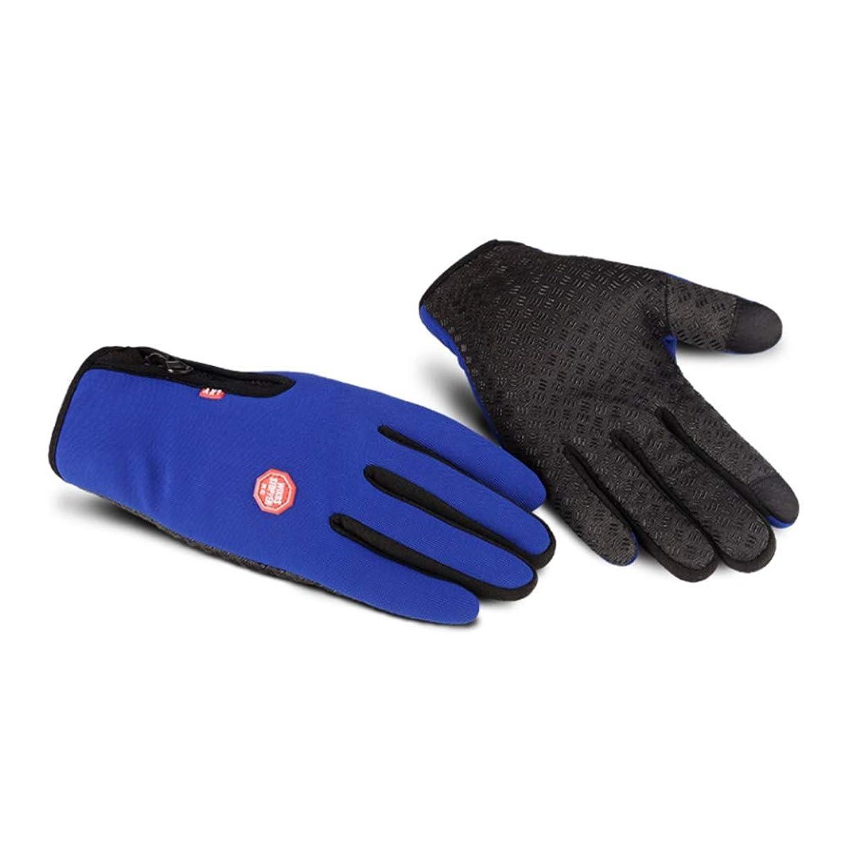 文庫本追い付く一握り手袋の男性の秋と冬の自転車電動バイクの女性のタッチスクリーンはすべて防風ノンスリップ暖かい冬のコールドプラスベルベット弾性手袋を意味する (色 : 青)
