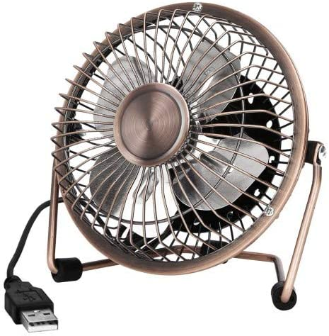 HQDeal Mini USB Desktop Fan Flexible 360° Rotation Cooling Desk Fan with USB Metal Shell Silent 4 Inch for Home Office Laptops PC Computer Bronze