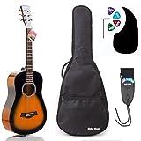 3/4 Size (36 Inch) Acoustic Guitar Bundle Junior/Travel Series by Hola! Music with Quality EXP16 Steel Strings, Padded Gig Bag, Guitar Strap and Picks, Model HG-36SB, Vintage Sunburst