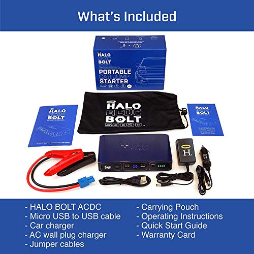 Product Image 1: HALO Bolt 58830 mWh Portable Phone Laptop Charger Car Jump Starter with AC Outlet and Car Charger – Blue Graphite