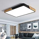 72W lamparas techo modernas plafón LED de madera atmósfera rectangular...