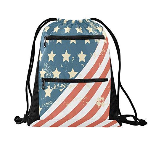 MCHIVER Rucksack mit Kordelzug, Sporttasche, Grunge-Stil, Amerika-Flagge, USA, Kordelzug-Tasche mit Reißverschlusstasche, Sinch Sack Sportrucksack für Wandern und Tanz