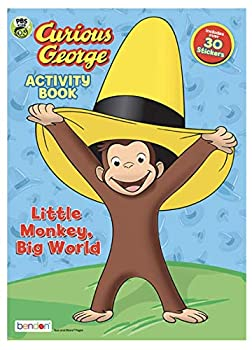 """Staple Bound Curious George """"Little Monkey, Big World"""" Coloring Activity Book with 30 Stickers Book"""
