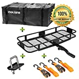 "Mockins Hitch Mount Cargo Carrier | The Steel Cargo Basket is 60"" Long X 20' Wide X 6"" Tall with A Hauling Weight Capacity of 500 Lbs and A Folding Shank to Preserve Space When Not in Use …"