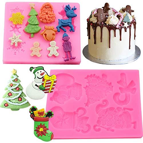 BESLIME Silicone Gâteau de Noël - Moules en Silicone de Noël pour Candy, Jelly et Cube de Glace, Plateau de Noël pour Moules, Moules à Thème de Noël,2pcs
