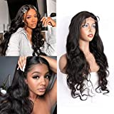 Maxine Lace Front Wigs Human Hair 22 Inch Body Wave Human Hair Wigs For Black Women 4x4 Lace Wigs Pre Plucked Hairline with Baby Hair 150% Density Natural Black 1B#