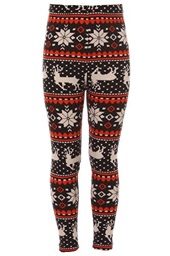 Expert Design Girl's Reindeer Snowflake Fair Isle Pattern Printed Leggings - S/M
