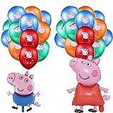 MEZHEN Globos para Fiesta Globos Cumpleaños Decoracion Pig Globos de Latex Foil para Fiesta de Cumpleaños Baby Shower Niña Niño 26 Piezas